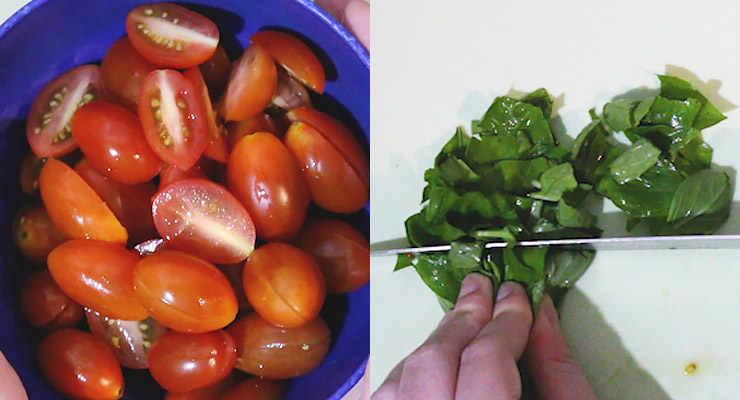 cut cherry tomatoes and basil