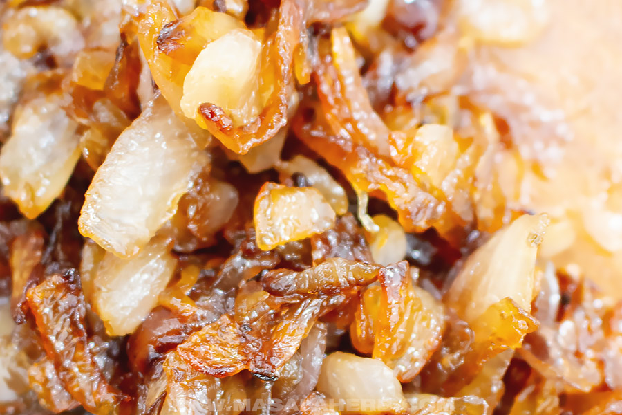 caramelized onions close up