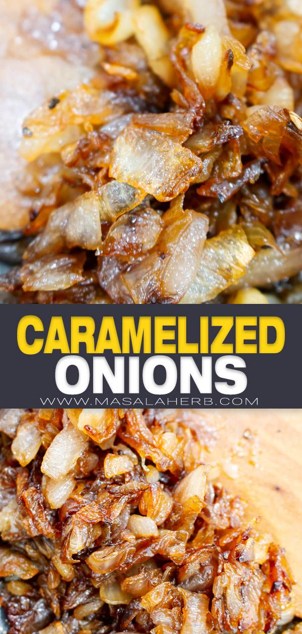Simple Caramelized Onion Recipe pin image