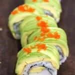sliced dragon roll sushi
