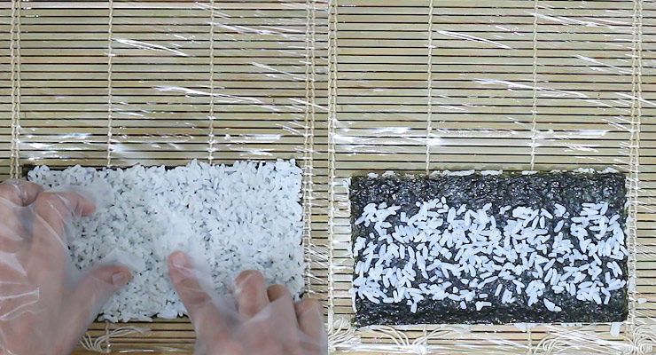 spread cooked sushi rice over the nori, turn around and spread remaining rice