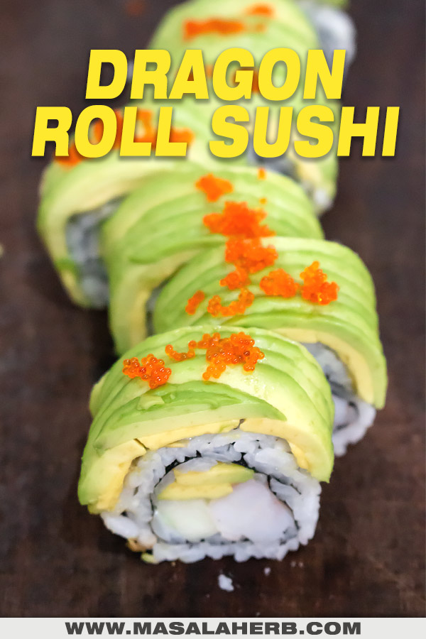 dragon roll maki inside out sushi roll sliced