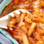 baked served 5 cheese ziti al forno