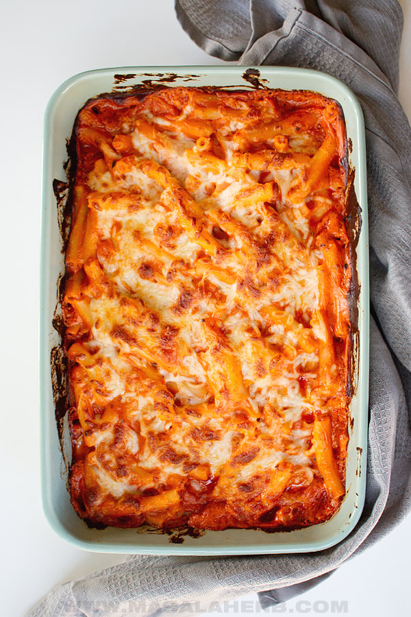 top down view picture of baked homemade ziti al forno