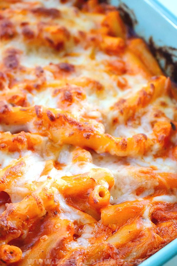 perfect baked ziti casserole close up