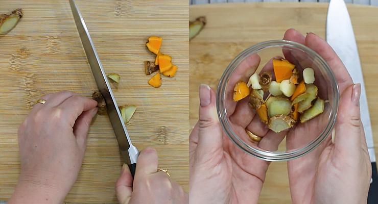 cut turmeric root, ginger and garlic