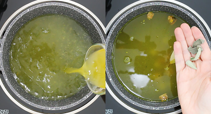 pour broth and water with seasoning into cooking pot