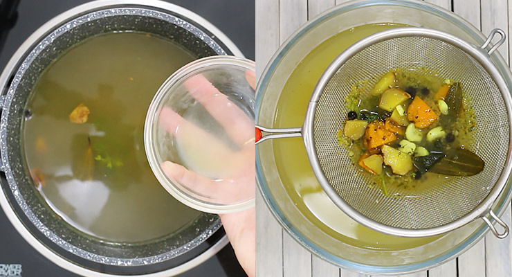 simmer, stir in lemon when infused and strain at the end.