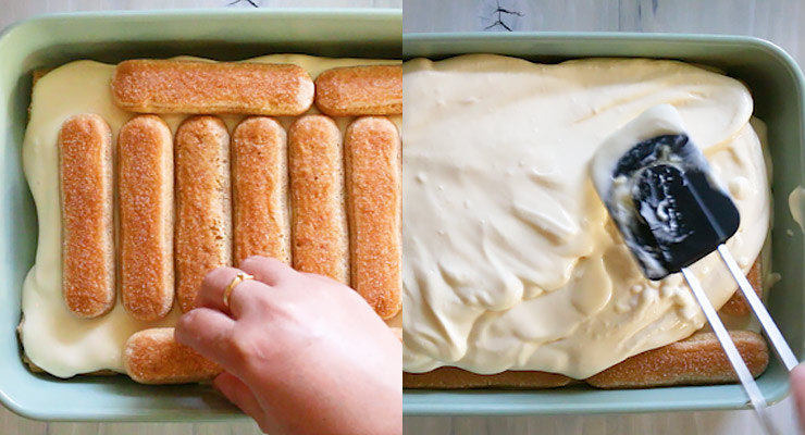 add second layer of biscotti and mascarpone over that