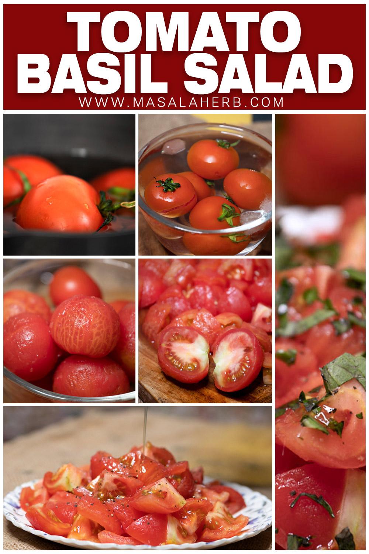 process shot instructions to make tomato basil salad