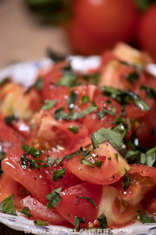 close up of tomato salad