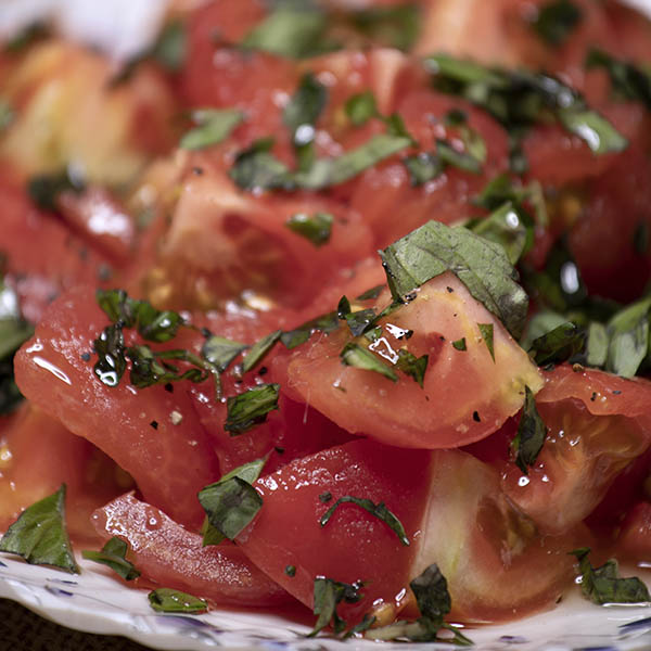 tomato basil fresh as a salad