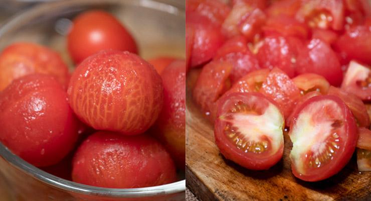 peeled tomatoes cut small