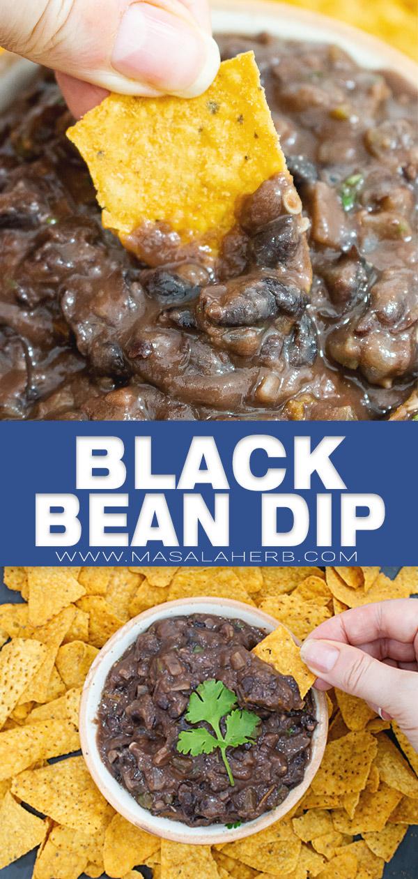 Spicy Black Bean Dip Recipe pin image