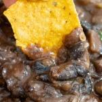 close up black bean dip image