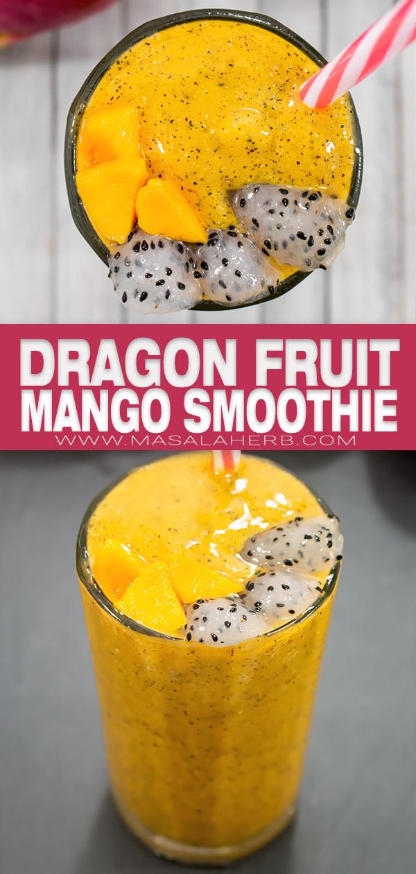 Tropical Mango Dragon Fruit Smoothie pin image