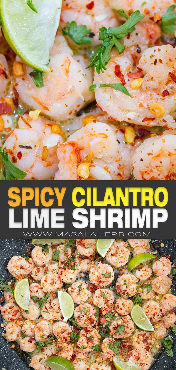 Spicy Cilantro Lime Shrimp Recipe pin image