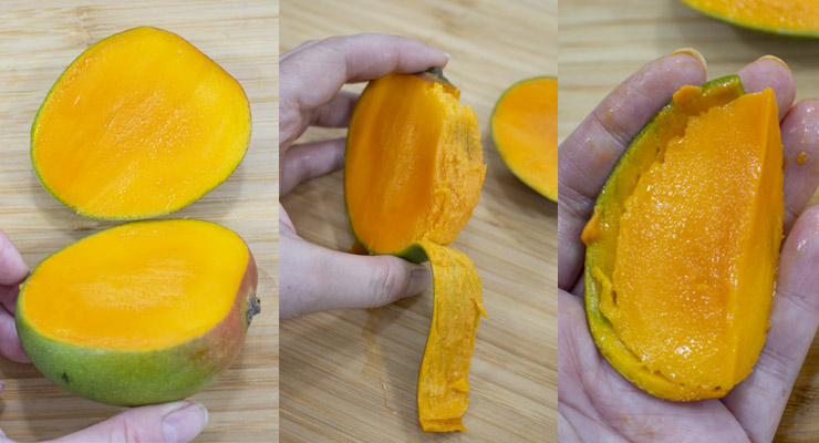 cut mango sides, peel and cut fruit flesh from the core