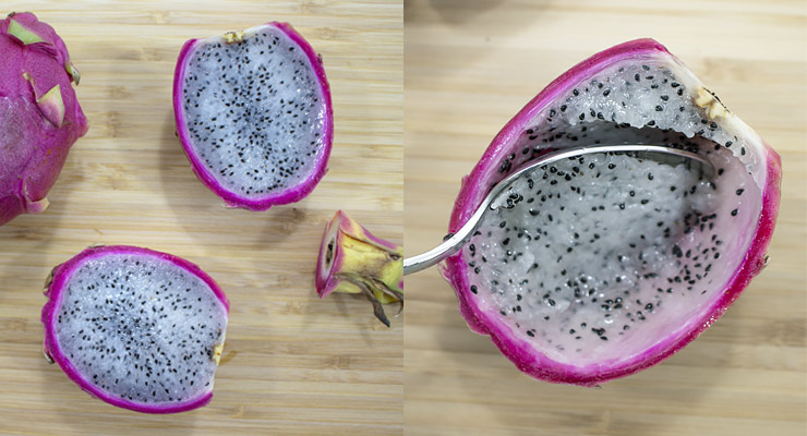 cut off dragon fruit top and cut into half. spoon out fruit flesh