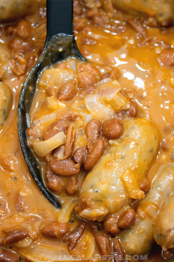 homemade canned pinto beans with sausages