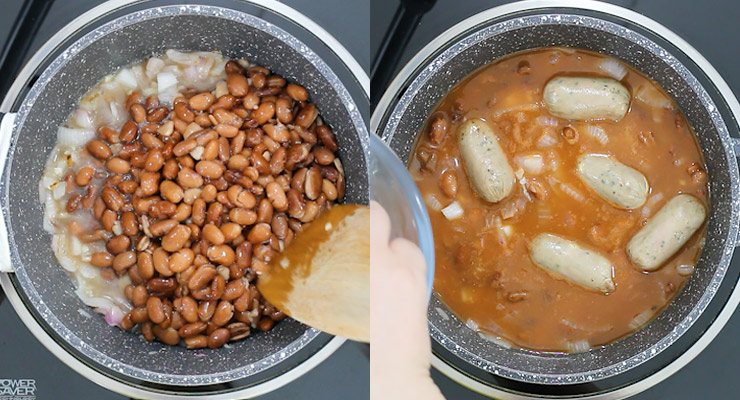 cook beans with seasoning, tomato sauce and water and sausage