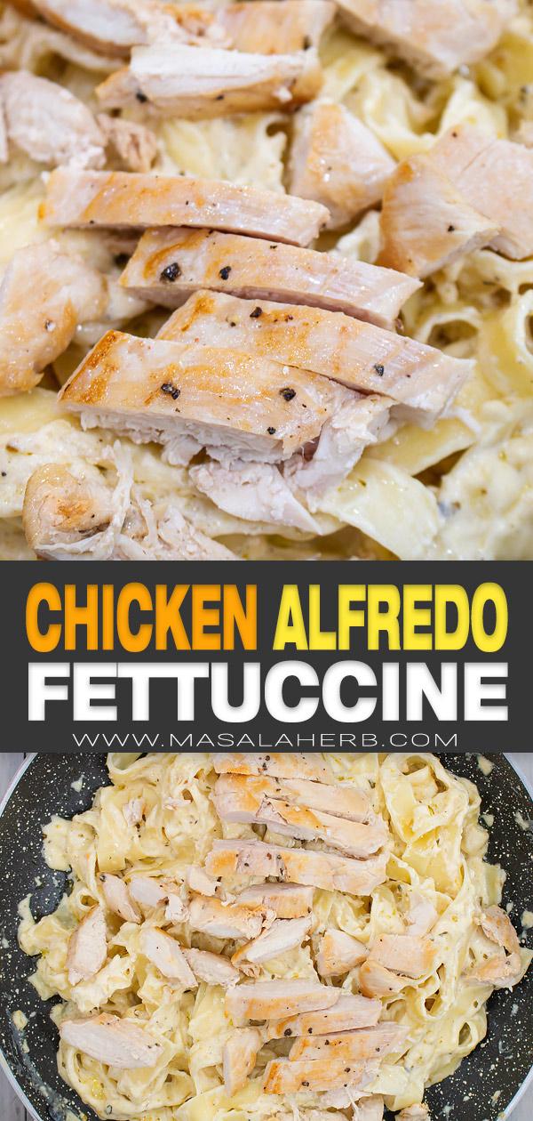 Chicken Alfredo Fettuccine Recipe pin image