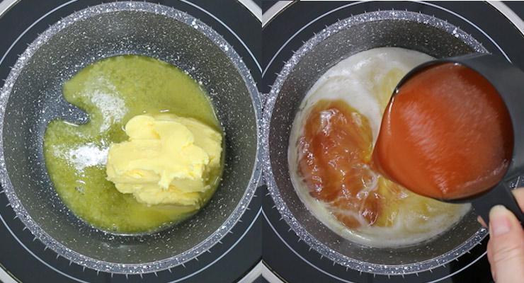 melt butter and add hot sauce
