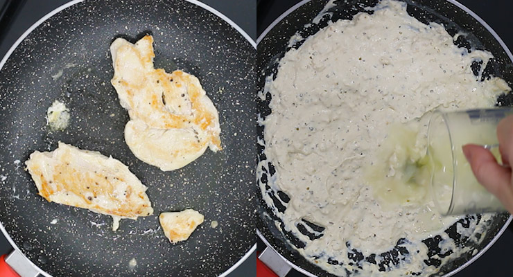 cook chicken, prepare alfredo sauce