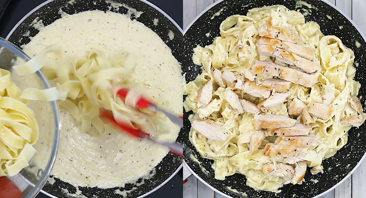 coat pasta with alfredo sauce and spread sliced cooked chicken over that