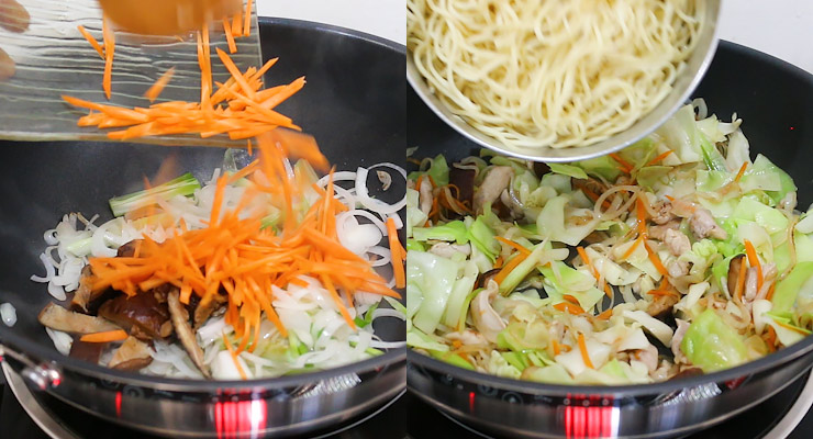 stir cook vegetables and add chicken and noodles