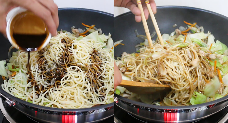 pour yakisoba sauce and black pepper over the noodles and stir cook