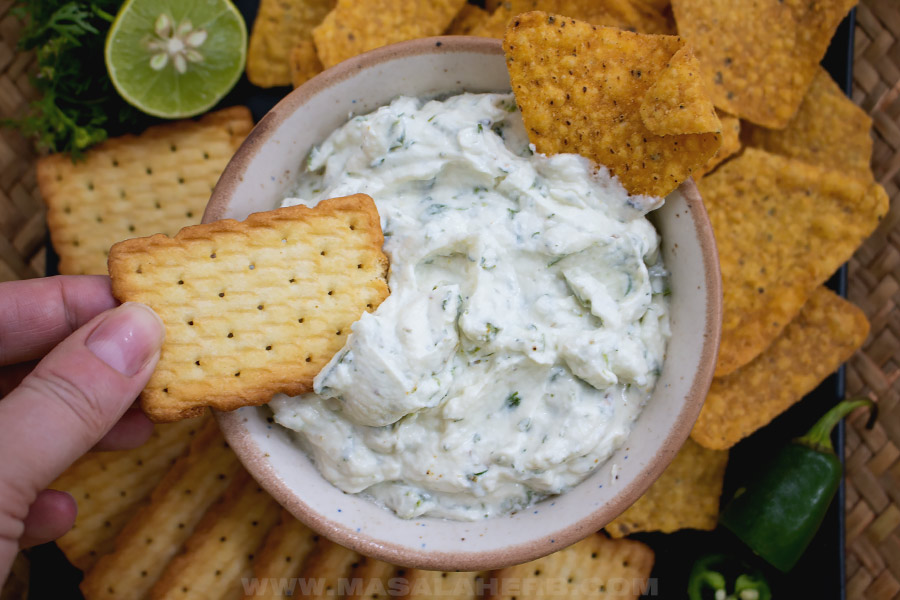 quick cream cheese dip in a bowl for a party