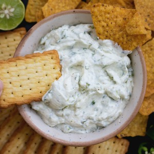 ritz crackers and nachos with cold cream cheese dip