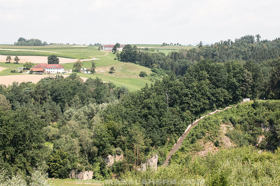 the death staircase of Mauthausen quarry with landscape