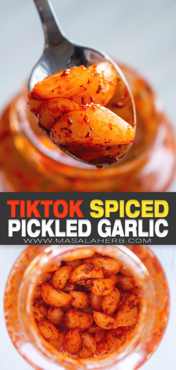 Spicy Pickled Garlic (Tiktok Copycat) pin image