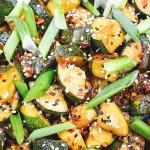 zucchini stir fry in wok