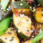 close up zucchini stir fry