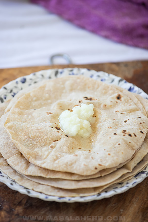 indian chapati with ghee topped