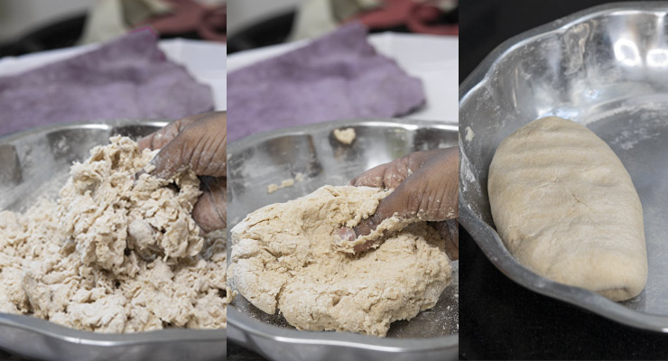 preparing roti dough