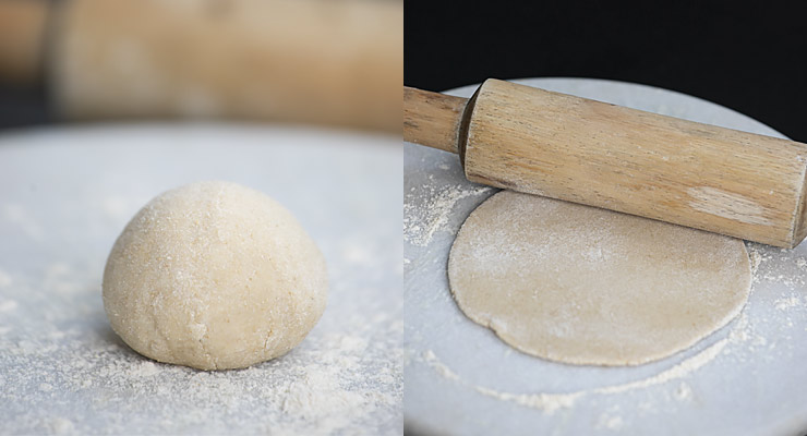 rolling out roti