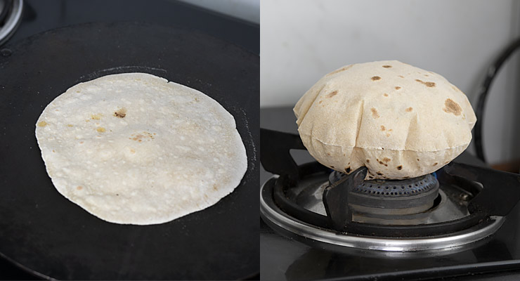 puffed cooked indian roti