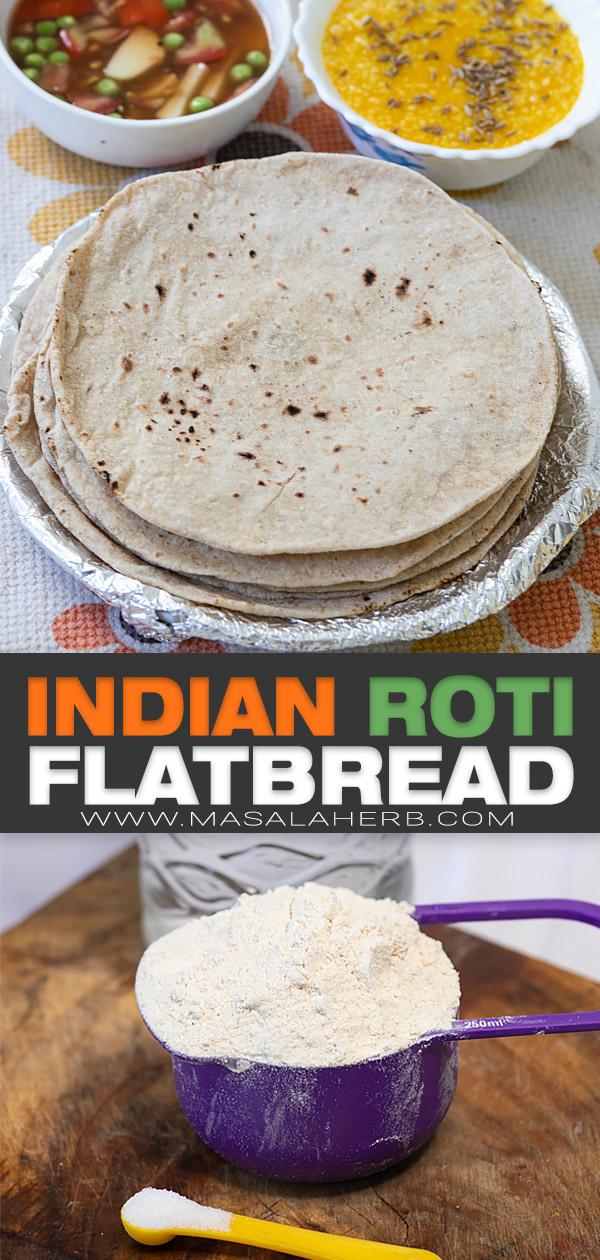 Indian Roti Flatbread Recipe pin picture