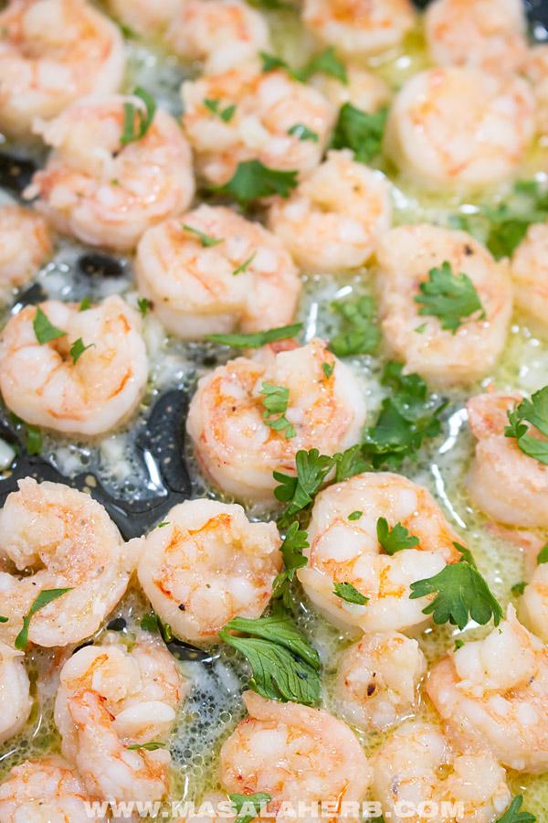butter garlic shrimp in a skillet