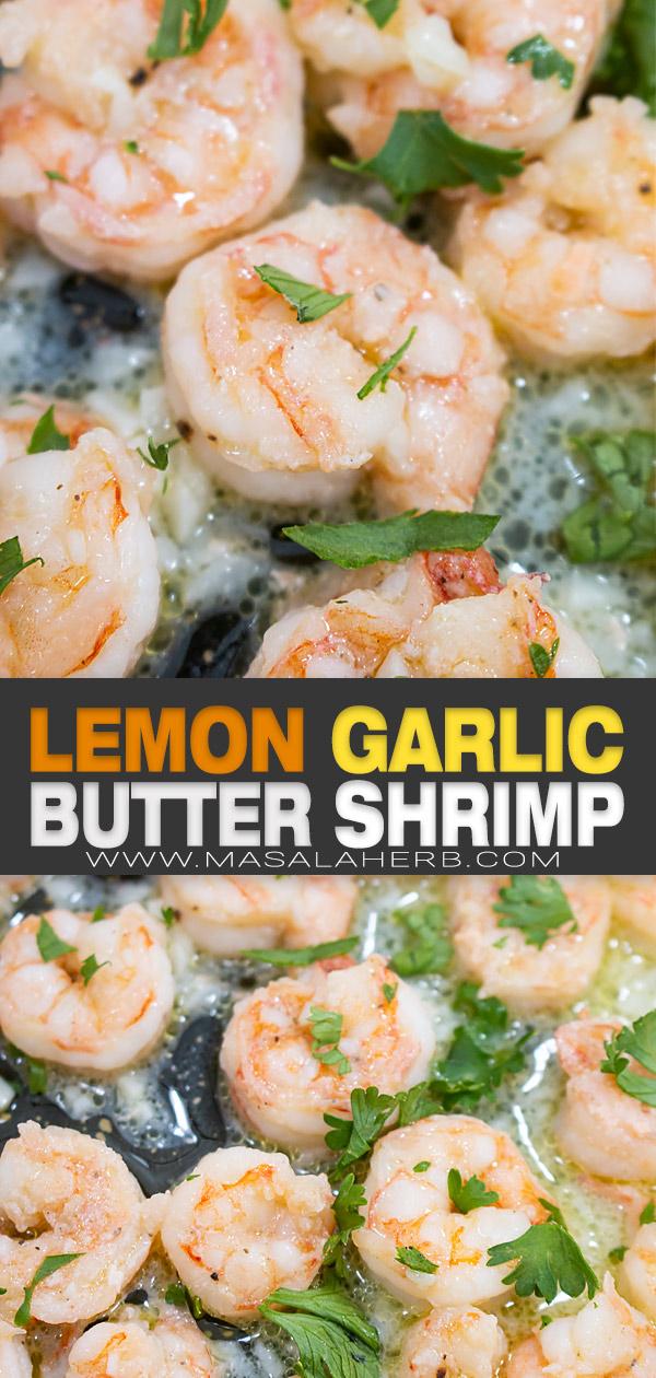Lemon Garlic Butter Shrimp Recipe pin image