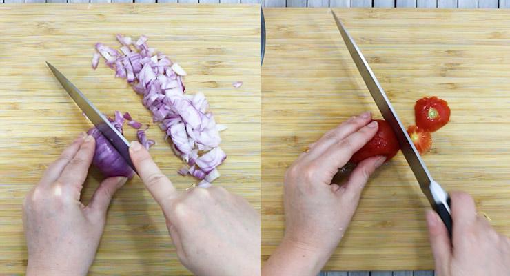 cut onion and remove tomato top
