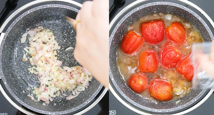 saute onion and garlic add tomato stock and seasoning