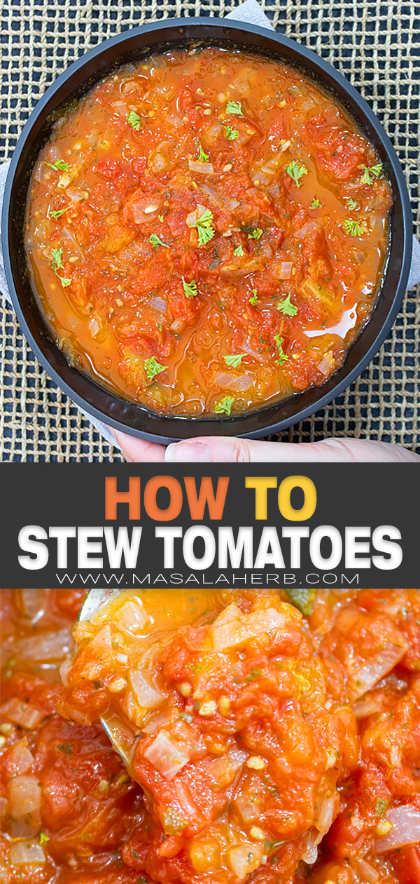Simple Stewed Tomatoes Recipe pin image