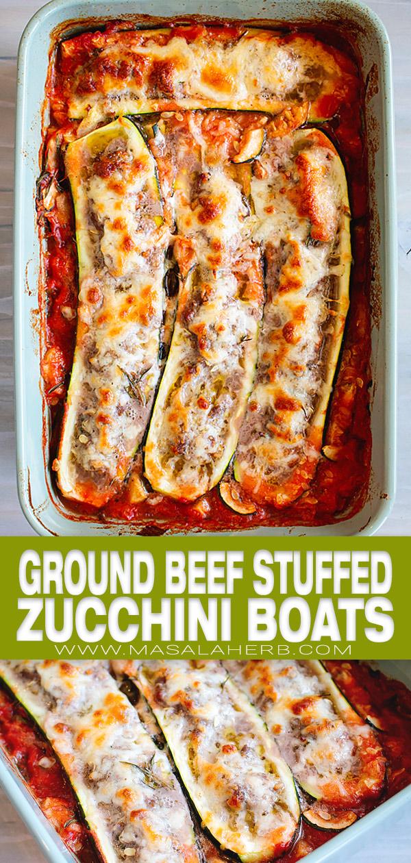 Ground Beef Stuffed Zucchini Boats Recipe pin picture