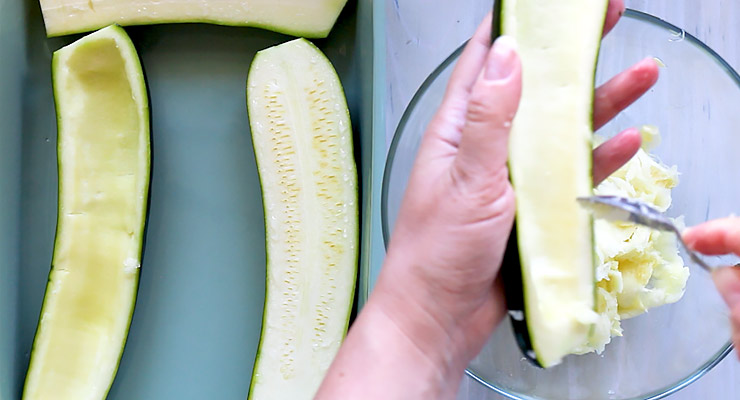 hollow out zucchini