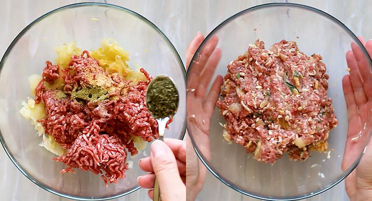 prepare ground beef stuffing
